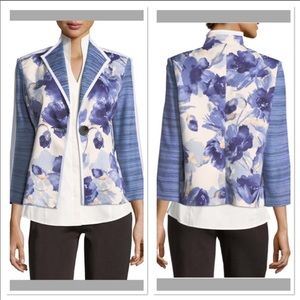 Misook Collection floral striped sleeve jacket